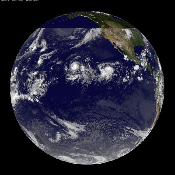 Full earth image taken at 11 p.m. HST Thursday, August 27, 2015. Photo courtesy of NOAA-NASA GOES Project