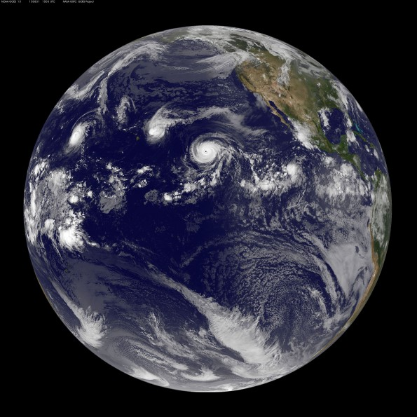 Full earth image taken at 5 a.m. HST Monday, August 31, 2015. Photo courtesy of NOAA-NASA GOES Project