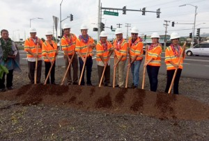From left to right: Kahu Daniel 'Kaniela' Akaka Jr.; Ed Sniffen, HDOT Deputy Director of Highways; Cindy Evans, State House of Representatives; Dru Mamo Kanuha, Hawaii County Council Chair; Chad Goodfellow, Goodfellow Bros., Inc. President; Ford Fuchigami, HDOT Director; Steve Goodfellow, Goodfellow Bros., Inc. CEO; Ed Brown, Goodfellow Bros., Inc. Director of Operations; Nicole Lowen, State House of Representatives; Mayela Sosa, Federal Highways Administration Division Administrator.
