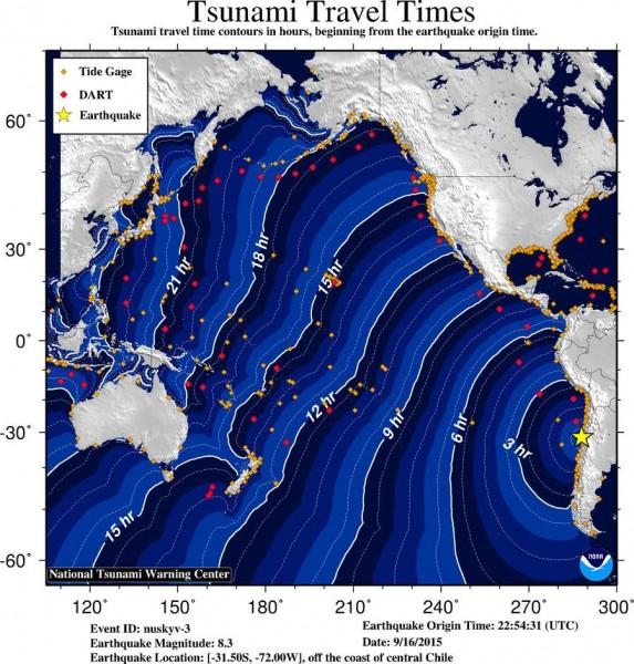 Tsunami time travel map
