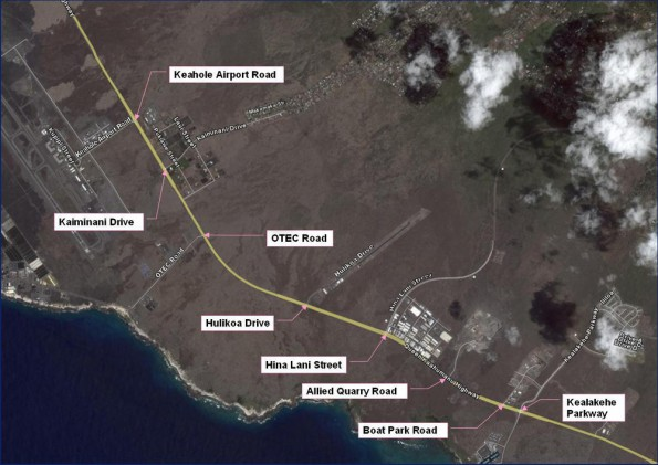 The project consists of the widening of the highway from a two-lane to four-lane highway from Kealakehe Parkway to Keahole Airport Road.