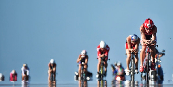 Athletes compete in the 112-mile (180.25 km) bicycle ride during the Ironman World Championship on Oct. 10 2015, Kailua Kona, Hawaii. (Photo by Nils Nilsen/IRONMAN)