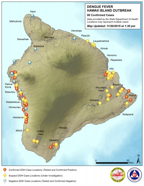 Dengue Fever outbreak map by Hawaii County Civil Defense Friday, November 20, 2015.