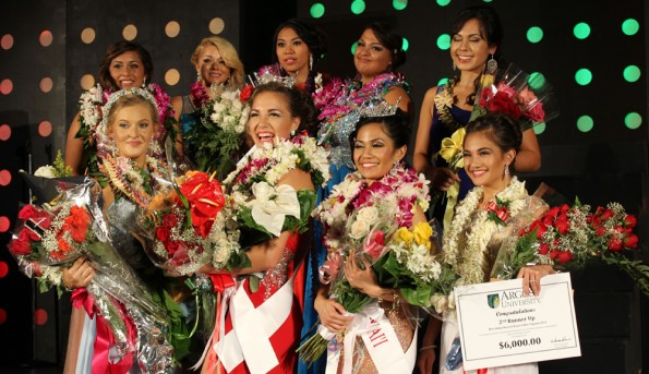 The nine contestants for the 45th annual Miss Kona Coffee Scholarship Pageant. (Hawaii 24/7 photo by Karin Stanton)