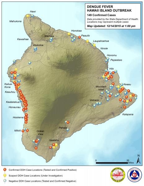 Hawaii County Civil Defense Dengue Fever map updated Monday, December 14, 2015.