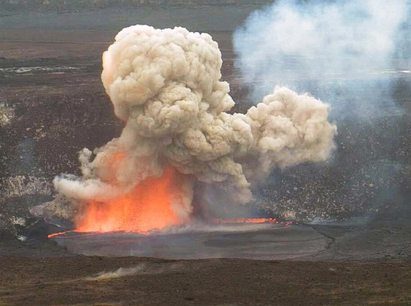 Kīlauea Volcano's summit lava lake was just one of many topics that USGS Hawaiian Volcano Observatory scientists talked about at the recent American Geophysical Union meeting in San Francisco. HVO webcams captured this small explosion triggered by rocks falling from the Halema'uma'u Crater wall into the lava lake on May 3, 2015, when the lake surface was just below the vent rim. USGS image.