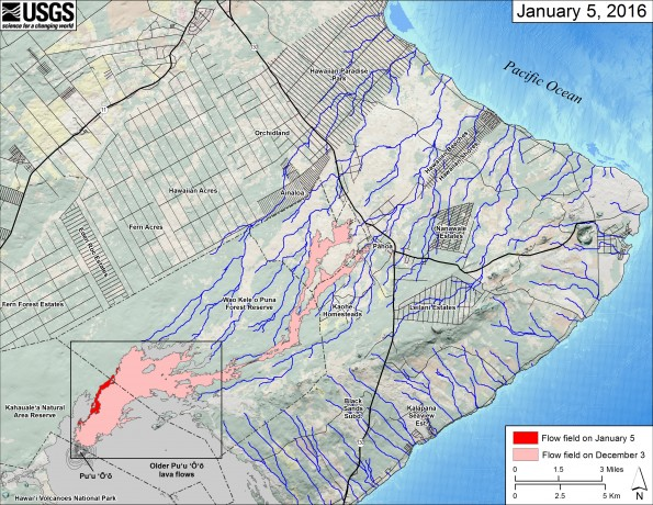This small-scale map shows Kīlauea's active East Rift Zone lava flow in relation to the eastern part of the Island of Hawaiʻi. The area of the flow field on December 3 is shown in pink, while widening and advancement of the flow field as mapped on January 5 is shown in red. The yellow lines show the active lava tube system. Puʻu ʻŌʻō lava flows erupted prior to June 27, 2014, are shown in gray. The black box shows the extent of the accompanying large scale map.  The blue lines show steepest-descent paths calculated from a 1983 digital elevation model (DEM; for calculation details, see http://pubs.usgs.gov/of/2007/1264/). Steepest-descent path analysis is based on the assumption that the DEM perfectly represents the earth's surface. DEMs, however, are not perfect, so the blue lines on this map can be used to infer only approximate flow paths. The base map is a partly transparent regional land cover map from National Oceanic and Atmospheric Administration (NOAA) Office of Coastal Management draped over the 1983 DEM. The bathymetry is also from NOAA.  Because the flow field is changing very little at the moment, mapping of the lava flow is being conducted relatively infrequently. We will return to more frequent mapping if warranted by an increase in activity.