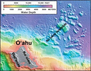 "In this shaded relief and bathymetric map of O'ahu, which comprises two volcanoes (Waiʻanae and Koʻolau), colors indicate water depth, from shallow (orange and yellow) to deep (purple), with shades of gray indicating the island area above sea level. From: U.S. Geological Survey Geologic Investigations Series <a href=""http://pubs.usgs.gov/imap/2809/"" target=""_blank"">Map I-2809</a>, ""Hawaiʻi's Volcanoes Revealed."""