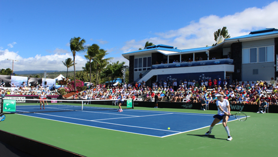 Bethanie Mattek-Sands reaches for a return in the doubles match Sunday. (Hawaii 24/7 photo by Karin Stanton)