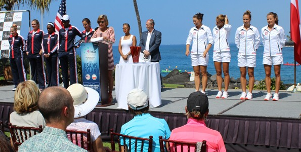 Ingrid Lofdahl-Bentzer, International Tennis Federation representative, introduces players from Team USA and Team Poland at the draw ceremony Friday in Keauhou. Also attending the draw were Fed Cup referee Wayne McKewen and Katrina Adams, USTA chairman of the board, CEO and president. (Hawaii 24/7 photo by Karin Stanton)