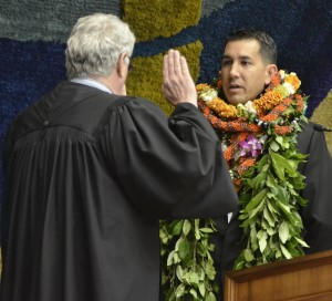 Kaialii Kahele is sworn in by Chief Justice Mark Recktenwald into the Hawaii State Senate Wednesday (Feb 17). Photo courtesy of Senate Communications