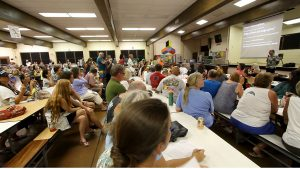 Hawaii County Civil Defense Director Darryl Oliveira at a community meeting at Pahoa High School on September 9, 2014 regarding the June 27th Lava Flow threatening the community. Hawaii 24/7 File Photo