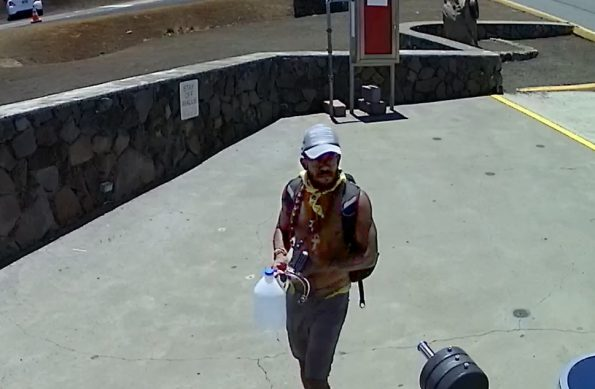 Person of interest by DNLR/DOCARE seen near the site of the roadway obstruction on Mauna Kea Access Road.