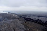 A view of the perched lava lake which has been refilled with new lava from the northern breakout and the fumes coming from the newly forming lava tube. Photo taken Thursday, June 2, 2016 courtesy of USGS/HVO