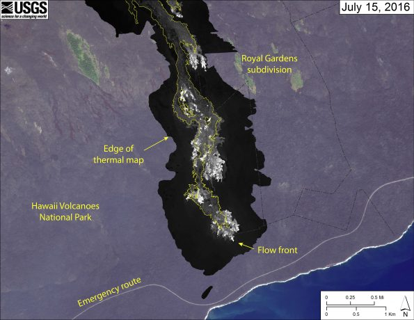This map is a georeferenced thermal image mosaic showing the distribution of active and recently active breakouts on the Pūlama pali and coastal plain. The thermal images were collected during a helicopter overflight on July 15. The episode 61g flow field as mapped on July 8 is outlined in yellow to show how the flow has changed. Most surface flow activity is on the coastal plain, but breakouts also continue on pali. The leading tip of the active flow was 870 m (about half a mile) from the ocean.