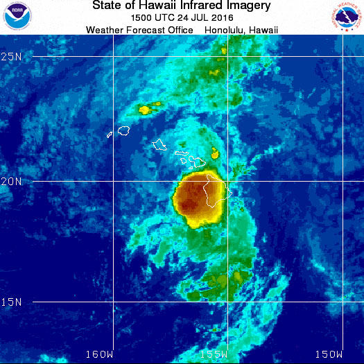 NWS Infrared Satellite Image of Tropical Storm Darby at 5 a.m. Sunday, July 24, 2016