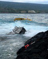Spirit of Kona aground and sinking fronting Kailua Estates subdivision near Old Kona Airport Park Sunday, July 24, 2016. Photo via USCG