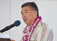 Ross Higashi, Deputy Director of the Airports Division, speaks during the opening ceremony of the new Hilo International Airport Aircraft Rescue and Firefighting Station Friday, July 29, 2016.