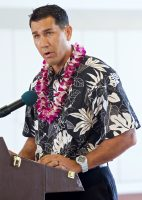 Senator Kaialii Kahele speaking on behalf of Hawaii State Senate President Ronald Kouchi during the dedication ceremony for the new Hilo International Airport Aircraft Rescue and Firefighting Station Friday, July 29, 2016.