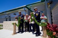 The untying of the maile lei to formally open the new Hilo International Airport Aircraft Rescue and Firefighting Station. Photography by Baron Sekiya | Hawaii 24/7