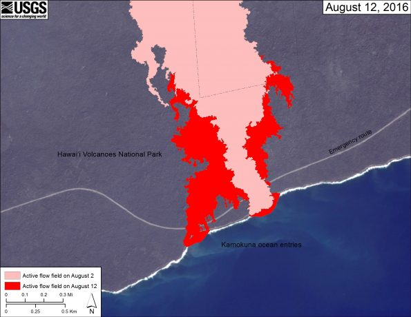 This map shows recent changes to Kīlauea's East Rift Zone lava flow field at the coast. The area of the active flow field as of August 2 is shown in pink, while widening and advancement of the active flow as mapped on August 12 is shown in red. The base is a Digital Globe image from January 2016.