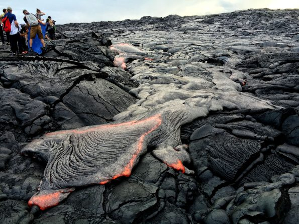 """On Friday evening, breakouts from the east side of lava flow """"61g"""" provided good viewing for visitors who walked in from the Kalapana viewing area. Photo taken Friday, August 12, 2016 courtesy of USGS/HVO"""