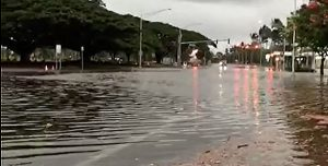 Kamehameha Avenue flooded and closed in Hilo. Baron Sekiya Photo | Hawaii 24/7
