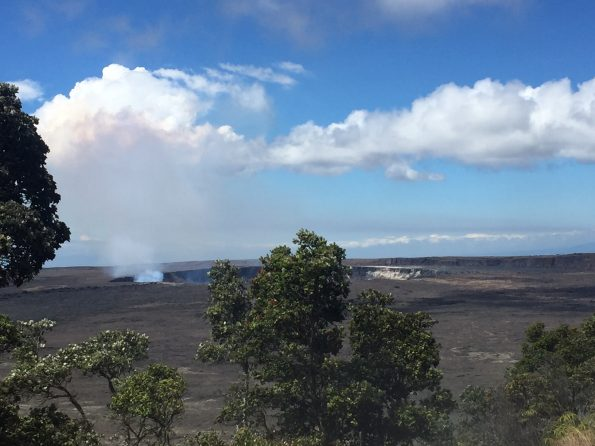 Halema'uma'u is seen from Crater Rim Trail near Steam Vents on Tuesday morning (Aug 30), the calm before the storms. NPS Photo