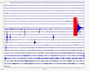 Seismic station recording at Mauna Loa summit with the earthquake event of Tuesday, September 6, 2016 on the right side.