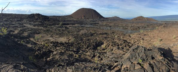 Shown here are three of the main volcanic cones (center and right) that make up the Kamakaiʻa Hills on Kīlauea Volcano's Southwest Rift Zone. Findings from a study of the Kamakaiʻa Hills that is currently underway by the USGS Hawaiian Volcano Observatory will likely revise the known geologic history of this remote area on Kīlauea and provide new insights on past and future eruptions along the volcano's Southwest Rift Zone. USGS photo.