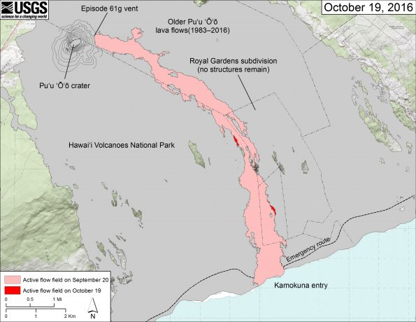 This map shows recent changes to Kīlauea's East Rift Zone lava flow field. The area of the active flow field as of September 20 is shown in pink, while widening and advancement of the active flow as mapped on October 19 from satellite imagery is shown in red. Older Puʻu ʻŌʻō lava flows (1983–2016) are shown in gray.