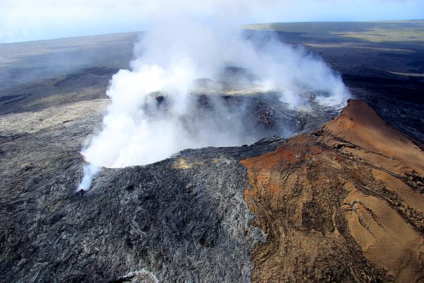 The Pu'u 'Ō'ō vent on Kīlauea's East Rift Zone also emits sulfur dioxide and is another source that causes vog. Photo courtesy U.S. Geological Survey Hawaiian Volcano Observatory.
