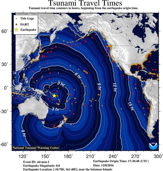 Estimated travel times for tsunami waves.