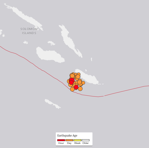 Numerous temblors greater than 5.0 magnitude continue to shake the Solomon Islands after a magnitude 7.8 quake struck Thursday and a 7.0 quake struck Friday (Dec 9). Map courtesy of USGS generated at 10 a.m. HST December 9, 2016.