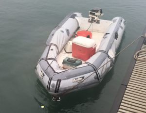 The Coast Guard received a report of an unmanned, adrift dinghy found offshore of the Big Island, five miles north of Kawaihae and the Kohala district, Dec. 4, 2016. The dinghy has evidence of recent use with two fishing rods, tackle box and fresh fish in the cooler aboard. (Courtesy photo/Released)