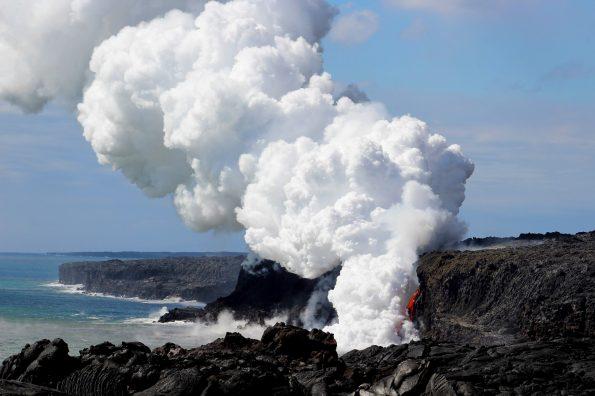 New lava cascade at Kamokuna in Hawai'i Volcanoes National Park on Monday, January 2. NPS Photo/J.Ferracane