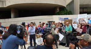 A Hawaii coalition on the steps of the Federal Building in Honolulu Wednesday (Feb 1) opposing the executive orders on immigration. Photo courtesy of ACLU Hawaii