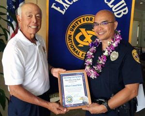 "The Aloha Exchange Club of East Hawaiʻi recognized Puna Patrol Officer Conrad Bidal on Thursday (February 23) as the East Hawaiʻi ""Officer of the Month"" for February.  Bidal, who has less than a year of service with the Police Department, was honored for what Sergeant William Derr described as his ""extreme courage"" while evacuating occupants of apartments above Luquin's restaurant during a midnight fire that destroyed the structure."