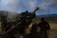 U.S. Marines assigned to Bravo Battery, 1st Battalion, 12th Marine Regiment, operate an M777A2 Lightweight Towed Howitzer during Spartan Fury at the Pohakuloa Training Area, on the big island of Hawaii, March 22, 2017. Spartan Fury is a Battalion level pre-deployment training exercise designed to improve sustainment training for future deployments. (U.S. Marine Corps photo by Cpl. Alex Kouns/Released)