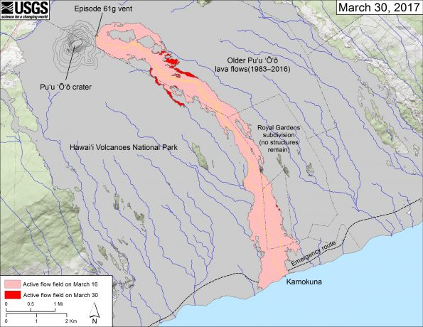 This map shows recent changes to Kīlauea's East Rift Zone lava flow field. The area of the active flow field as of March 16 is shown in pink, while widening and advancement of the active flow as of March 30 is shown in red. Older Puʻu ʻŌʻō lava flows (1983–2016) are shown in gray. The yellow line is the trace of the active lava tube (dashed where uncertain).  The blue lines over the Puʻu ʻŌʻō flow field are steepest-descent paths calculated from a 2013 digital elevation model (DEM), while the blue lines on the rest of the map are steepest-descent paths calculated from a 1983 DEM (for calculation details, see http://pubs.usgs.gov/of/2007/1264/). Steepest-descent path analysis is based on the assumption that the DEM perfectly represents the earth's surface. DEMs, however, are not perfect, so the blue lines on this map can be used to infer only approximate flow paths. The base map is a partly transparent 1:24,000-scale USGS digital topographic map draped over the 1983 10-m digital elevation model (DEM).