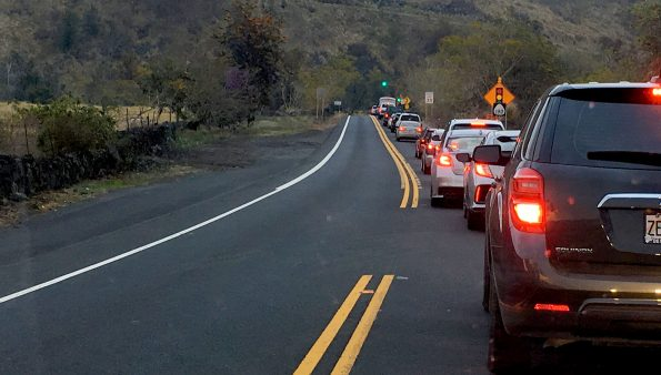 Mamalahoa Highway (Route 190) near Puuanahulu reduced to one lane of contraflow traffic during roadwork Thursday, March 30, 2017. Hawaii 24/7 File Photo