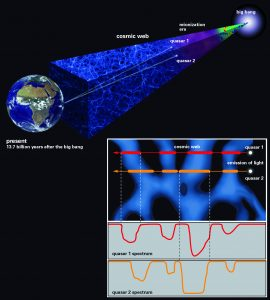 Schematic representation of the technique used to probe the small-scale structure of the cosmic web using light from a rare quasar pair. The spectra (bottom right) contain information about the hydrogen gas the light has encountered, as well as the distance of that gas. CREDIT: SPRINGEL et al. (2005) (cosmic web)/J. NEIDEL, MPIA