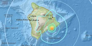 At 7:01 a.m. HST on Thursday, June 8, 2017 a 5.3 magnitude quake struck the south flank of Mauna Loa. USGS Graphic