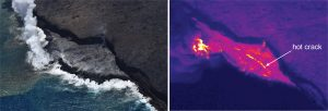 Thermal images collected during the overflight on Wednesday, June 21, show a hot crack spanning much of the width of the lava delta at the Kamokuna ocean entry. These cracks are common on lava deltas, and suggest sagging and instability at the front of the delta. Photo taken Thursday, June 22, 2017 courtesy of USGS/HVO