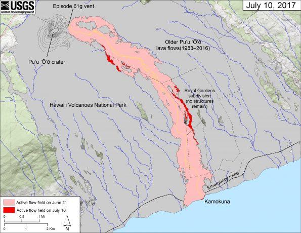 This map shows recent changes to Kīlauea's East Rift Zone lava flow field. The area of the active flow field as of June 21 is shown in pink, while widening and advancement of the active flow as of July 10 is shown in red. Older Pu'u 'Ō'ō lava flows (1983–2016) are shown in gray. The yellow line is the trace of the active lava tube.  The blue lines over the Pu'u 'Ō'ō flow field are steepest-descent paths calculated from a 2013 digital elevation model (DEM), while the blue lines on the rest of the map are steepest-descent paths calculated from a 1983 DEM (for calculation details, see http://pubs.usgs.gov/of/2007/1264/). Steepest-descent path analysis is based on the assumption that the DEM perfectly represents the earth's surface. DEMs, however, are not perfect, so the blue lines on this map can be used to infer only approximate flow paths. The base map is a partly transparent 1:24,000-scale USGS digital topographic map draped over the 1983 10-m digital elevation model (DEM).