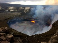 A wider view of the lava lake in the Overlook crater, taken from the rim of Halema'uma'u Crater (closed to the public due to volcanic hazards). Photo taken Tuesday, July 11, 2017 courtesy of USGS/HVO