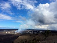 A view of the outgassing plume produced by the summit lava lake. The photo was taken from Uwēkahuna Bluff, near HVO and the National Park Service Jaggar Museum. Photo taken Tuesday, July 11, 2017 courtesy of USGS/HVO