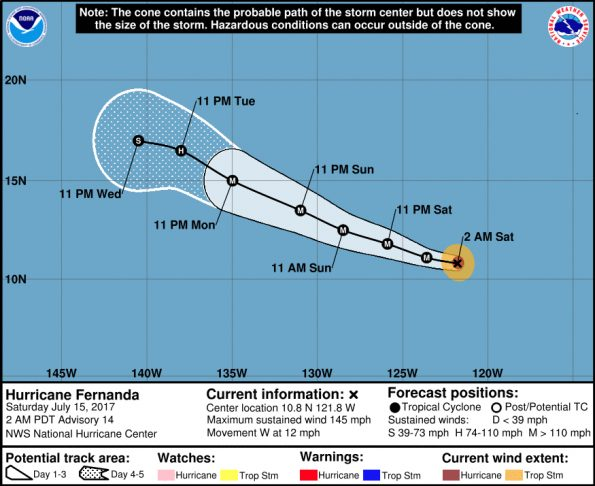 Hurricane Fernanda in the Eastern Pacific at 11 p.m. HST Friday, July 14, 2017.
