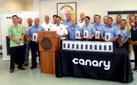 Hawaii County firefighters receive Canary home security systems donated by State Farm. Courtesy Photo.