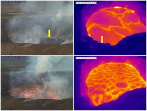 On September 8, at 6:06 p.m. HST, much of the large ledge that had built up on the south side of the summit vent within Halema'uma'u collapsed. The top two images, captured by HVO's K2 and HT web cameras, show the summit vent before the collapse. A yellow arrow points to the ledge, which was formed by layers of lava stacking up during repeated high lake levels. The lower webcam images were captured minutes after the collapse. In the thermal images, note the difference in the lava lake surface before and after the collapse. K2cam shows the view from HVO and Jaggar Museum; HTcam is a thermal camera that looks down on the lava lake from the rim of Halema'uma'u. Photo taken Friday, September 8, 2017 courtesy of USGS/HVO